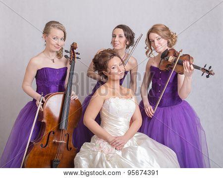 Bride And A Musical Trio