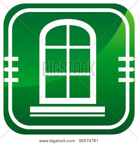 Window Frame - Green Icon Isolated