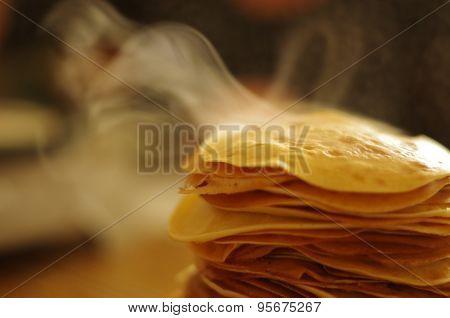 Steaming pancakes