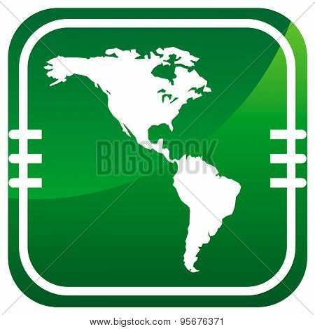Americas Map Vector Green Icon