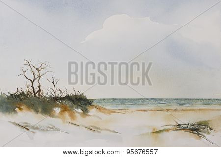 Stormy Beach Seascape.