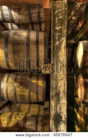 Aging barrels of bourbon