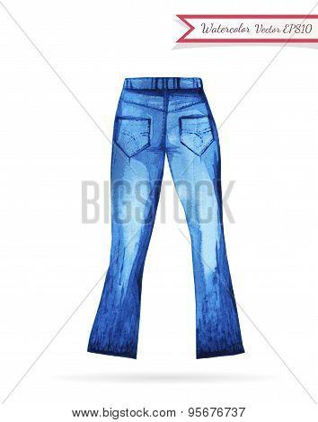 Indigo Jeans Watercolor Sketch