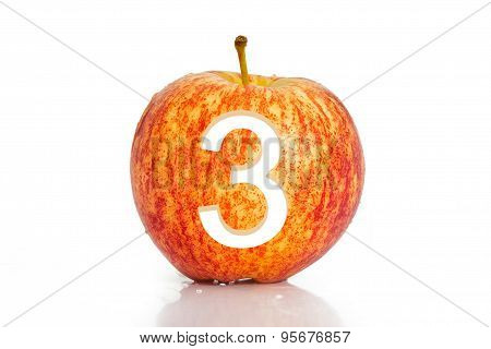 Number Hole In Apple Isolated On White Background.