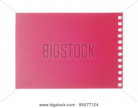 Red  Closed Paper Notebook Isolated On White Background