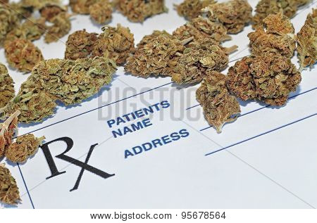 Medical marijuana buds with prescription paper