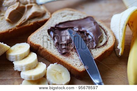 Chocolate spread, peanut butter and banana sandwich