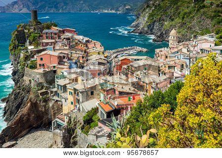 Town On The Rocks Liguria Italy