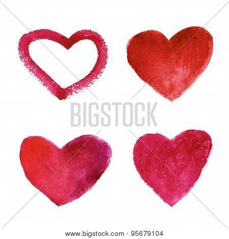 Set Of Vector Watercolor Red Hearts