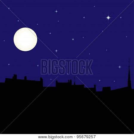 Silhouette of town at night, vector illustration