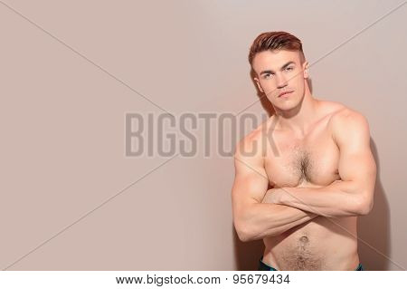 Portrait of handsome topless man