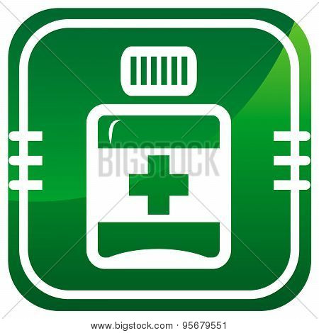 Pills, Medication Vector Green Icon