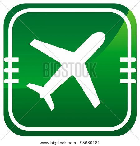 Airplane - Green Icon