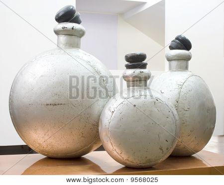 old metal chemical jars