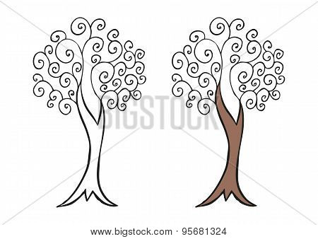 Doodling hand drawn amazing tree with curls