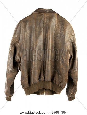 Leather Military flight Jacket from back isolated on white