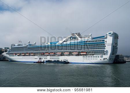 Cruise Ship In Port Of San Francisco, California