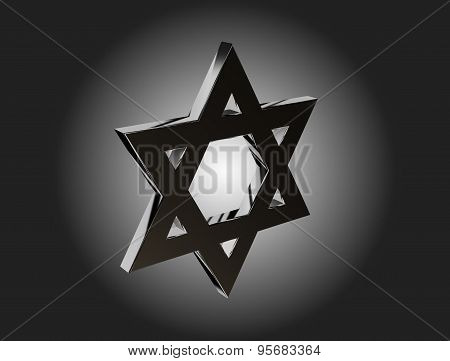 Monochrome Stylized Image Of The Star Of David Made On A Dark Background