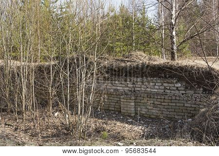Fragment Of An Old Ruined Building Of Sand-lime Brick