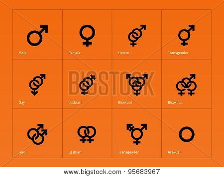 Male and Female sex symbol icons on orange background.