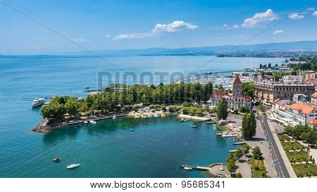 Aerial View Of Leman Lake -  Lausanne City In Switzerland