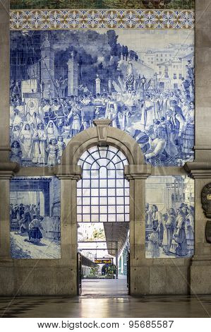 Porto, Portugal - July 04, 2015: Ancient Vintage Azulejos Panel On Inside Walls Of Sao Bento Station