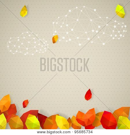 Autumn Background With Clouds And Leaves In Low-poly Triangular Style