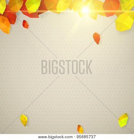 Autumn Background With Sun And Leaves In Low-poly Triangular Style