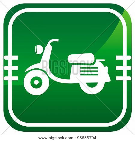 Scooter. Single Green Icon.