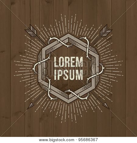 Abstract tattoo style line art emblem with impossible shape, arrows, thorns and sunburst on a wooden vintage background - vector illustration