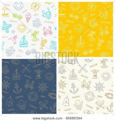 Vector set of a summer vacation, travel and adventures seamless background