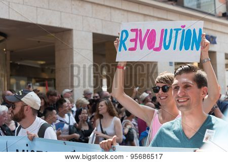 Munich, Germany - 11 July 2015: Christopher Street Day - Revolution