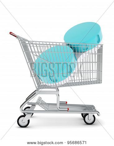 Container for contact lenses in shopping cart