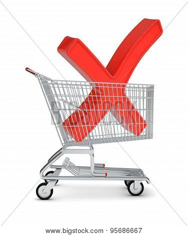 Letter X sign in shopping cart