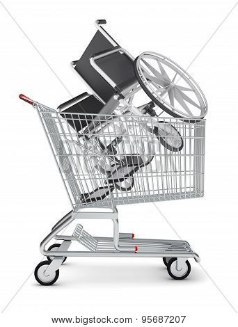 Wheel chair in shopping cart