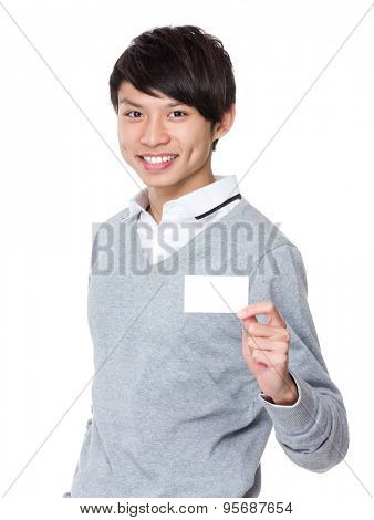 Asian businessman showing a blank namecard