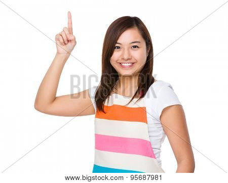 Housewife with finger point up