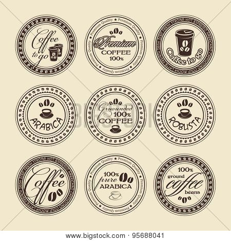 Vector coffee stamps set