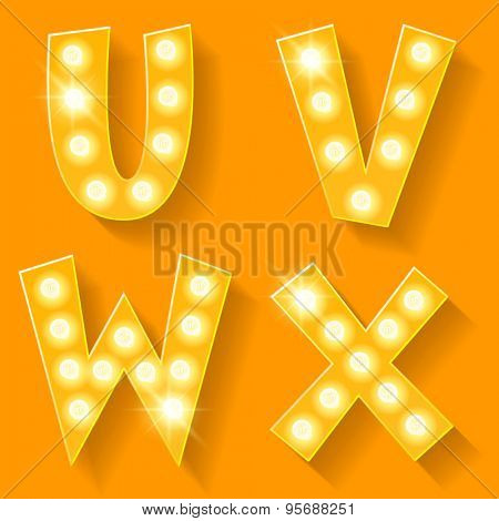 Vector yellow lamp alphabet for theatre, cinema and other entertainment. Letters U V W X