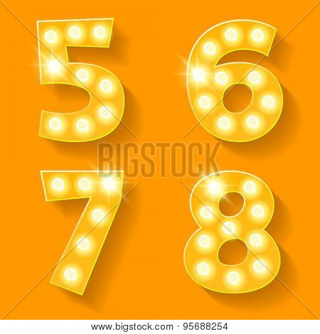 Vector yellow lamp alphabet for theatre, cinema and other entertainment. Numbers 5 6 7 8
