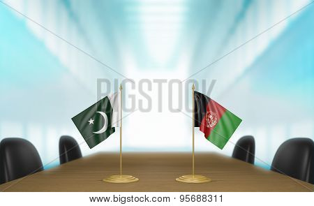 Pakistan and Afghanistan relations and trade deal talks 3D rendering