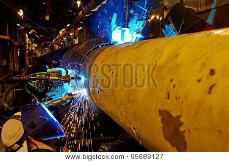 Welding of the pipeline.
