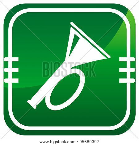 Horn. Green Icon.