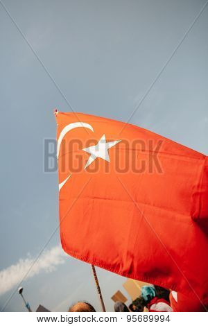 Turkey Flag Waving At Protest