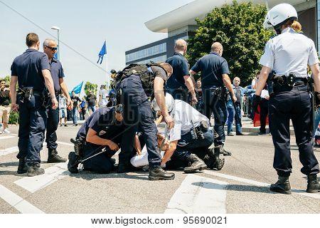 Police Arresting Man On Street