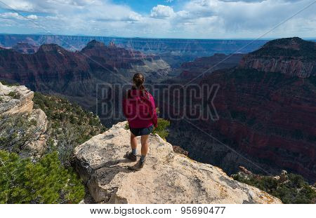 Hiker Girl At Bright Angel Point Grand Canyon North Rim