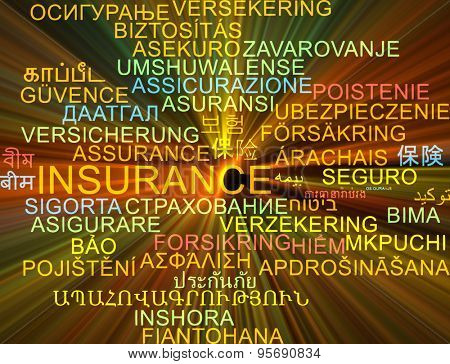 Background concept wordcloud multilanguage international many language illustration of insurance glowing light