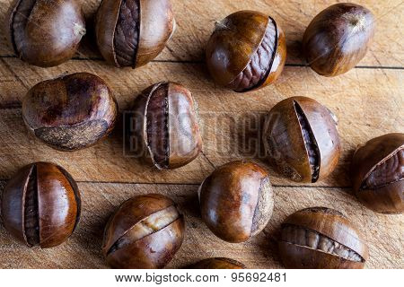 Chestnuts on wooden cutting board