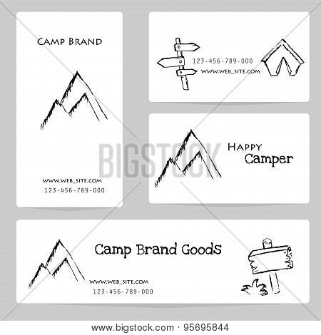 Camping - Doodles Collection.vector Banner Templates Set With Doodles Camping Theme