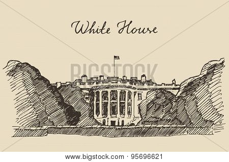 White House in Washington DC hand drawn sketch